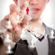 Young business man point to social network and world map — Stock Photo