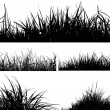 Set of grass silhouettes — Stock Photo