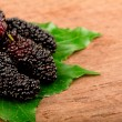 Mulberry and leaf on old wood — Stock Photo #10464759