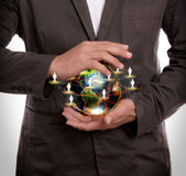Business man hold earth — Stock Photo