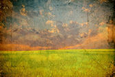 Grunge image of a field — Stockfoto