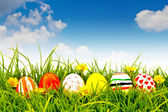 Easter Eggs with flower on Fresh Green Grass — Stok fotoğraf