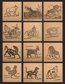 Vintage paper of 12 Chinese zodiac signs — Stock Photo