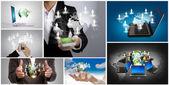 Collectie van sociale netwerken concept — Stockfoto
