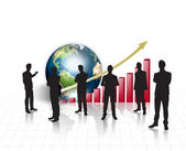 Silhouettes of business on world map with red graph and earth — Stockfoto