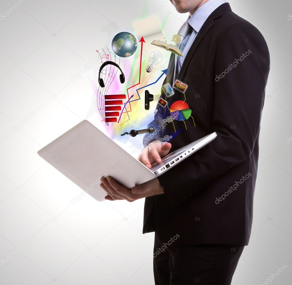 Business man with laptop — Stock Photo #10460598