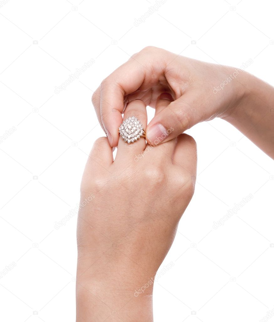 Engagement Ring in hand isolate on white background  Stock Photo #10460695