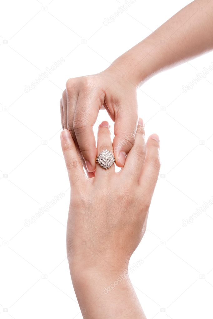 Engagement Ring in hand isolate on white background — Zdjęcie stockowe #10460714