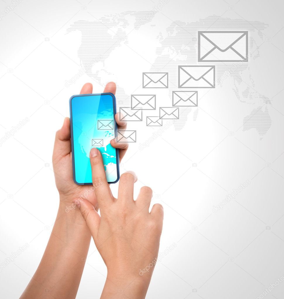 Hand holding a phone show  mail — Stock Photo #10462045