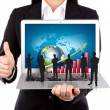 Business hold Laptop with silhouette — Stock Photo #10471951