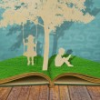 Stock Photo: Paper cut of children read book and children on swing under tr