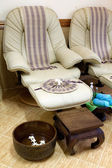 Foot massage chair in spa room — Stok fotoğraf