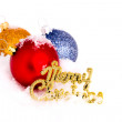 Blue ,red and gold christmas balls with snow — Foto Stock