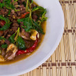 Thai spicy food, stir fried pork whit basil — Stock Photo