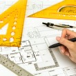 Hand draw Blueprint of house — Stock Photo #10614017