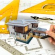 Hand draw Blueprint of a house — Stock Photo