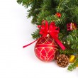 Red balls hanging from christmas tree — Stock Photo #10615028
