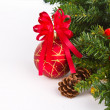 Red balls hanging from christmas tree — Stock Photo #10615064