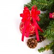 Red balls hanging from christmas tree — Stock Photo #10615067