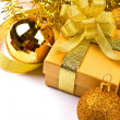 Golden gift box with golden ribbon — Foto Stock