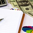 Pen ,calculator and dollars on financial Graphs — Stock Photo