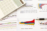 Pen and business graph — Stock Photo