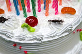 White Cream Cake with Fruits and Chocolate — Stock Photo