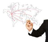 Mão de empresário desenhando um esquema de rede social em um quadro — Foto Stock