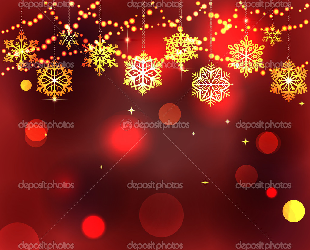 Christmas background with lights and snowflakes — Stock Vector #7971918