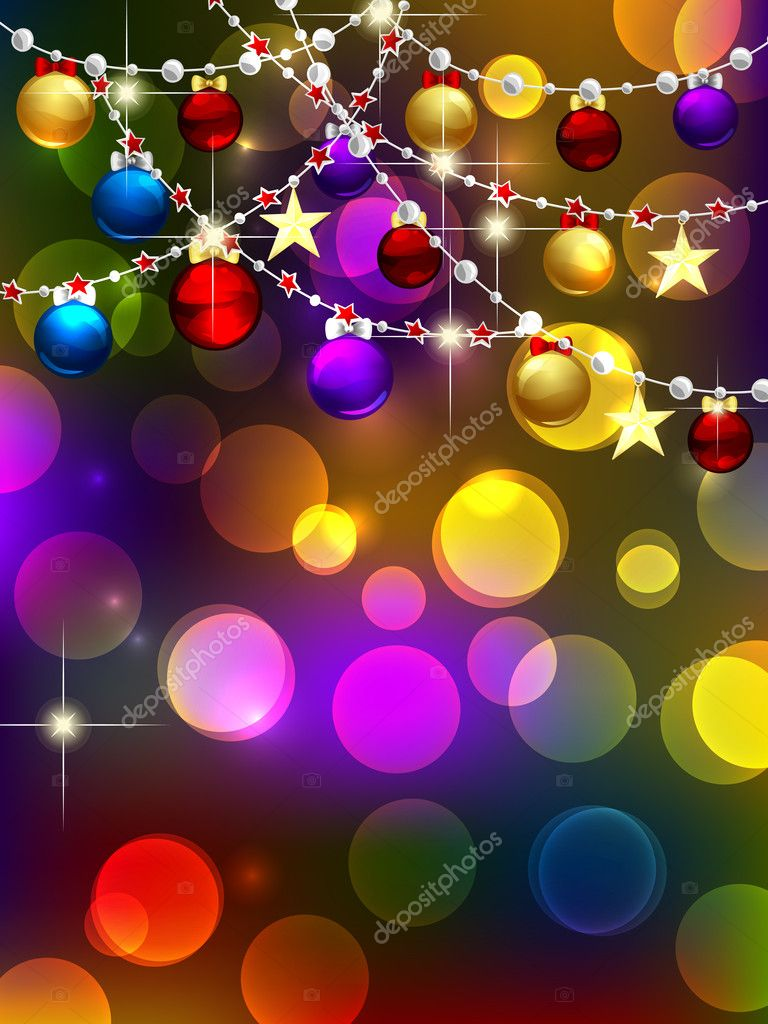 Christmas background with baubles, garlands and lights  Stock Vector #8019843