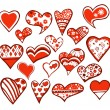 18 hearts — Stock Vector