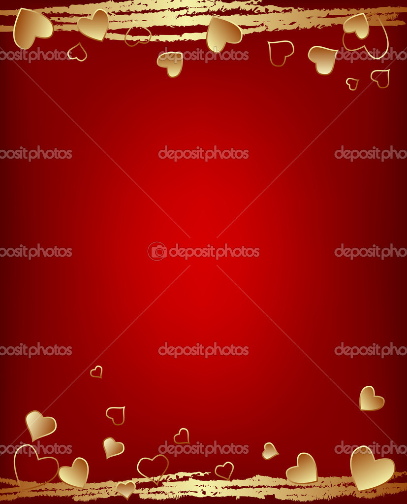 Valentine's day background with golden hearts  Stock Vector #8343774