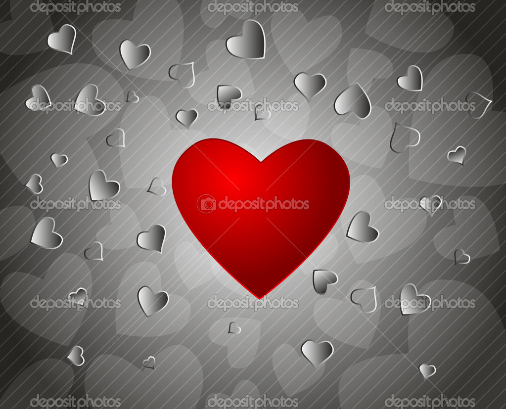 Gray  valentine's day background with red heart — Stock Vector #8343777