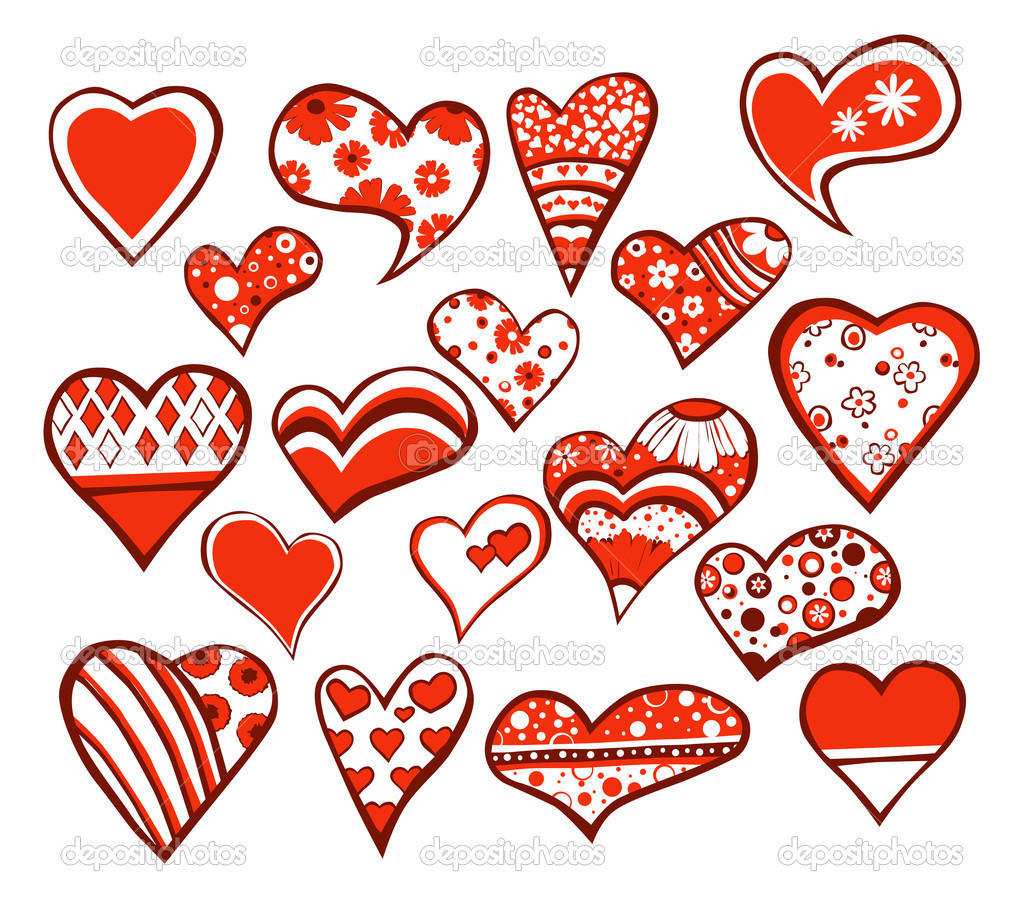 18 floral hearts isolated on white background — Stock Vector #8343783