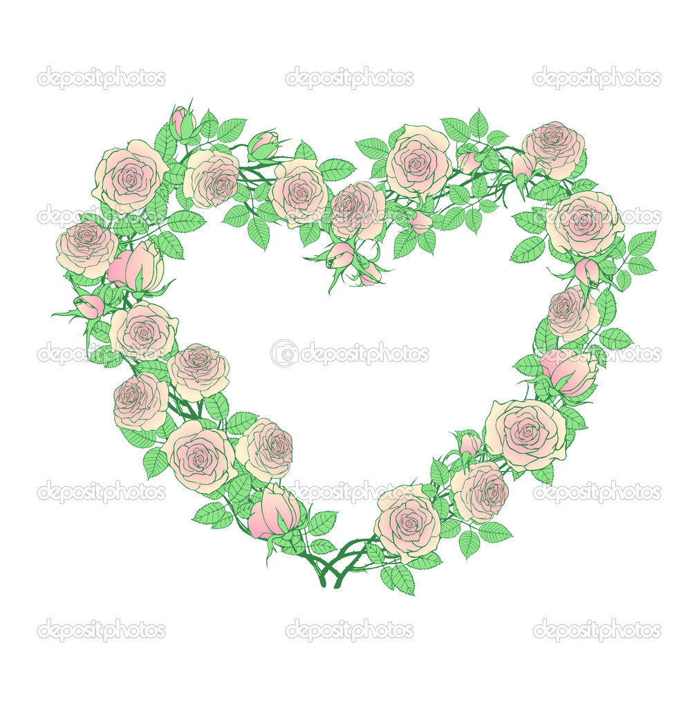 Rose branches forming heart shape — Stock Vector #8343793