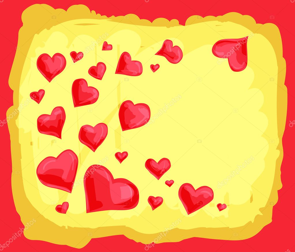 Yellow Valentine's day background with scattered red hearts — Stock Vector #8343796