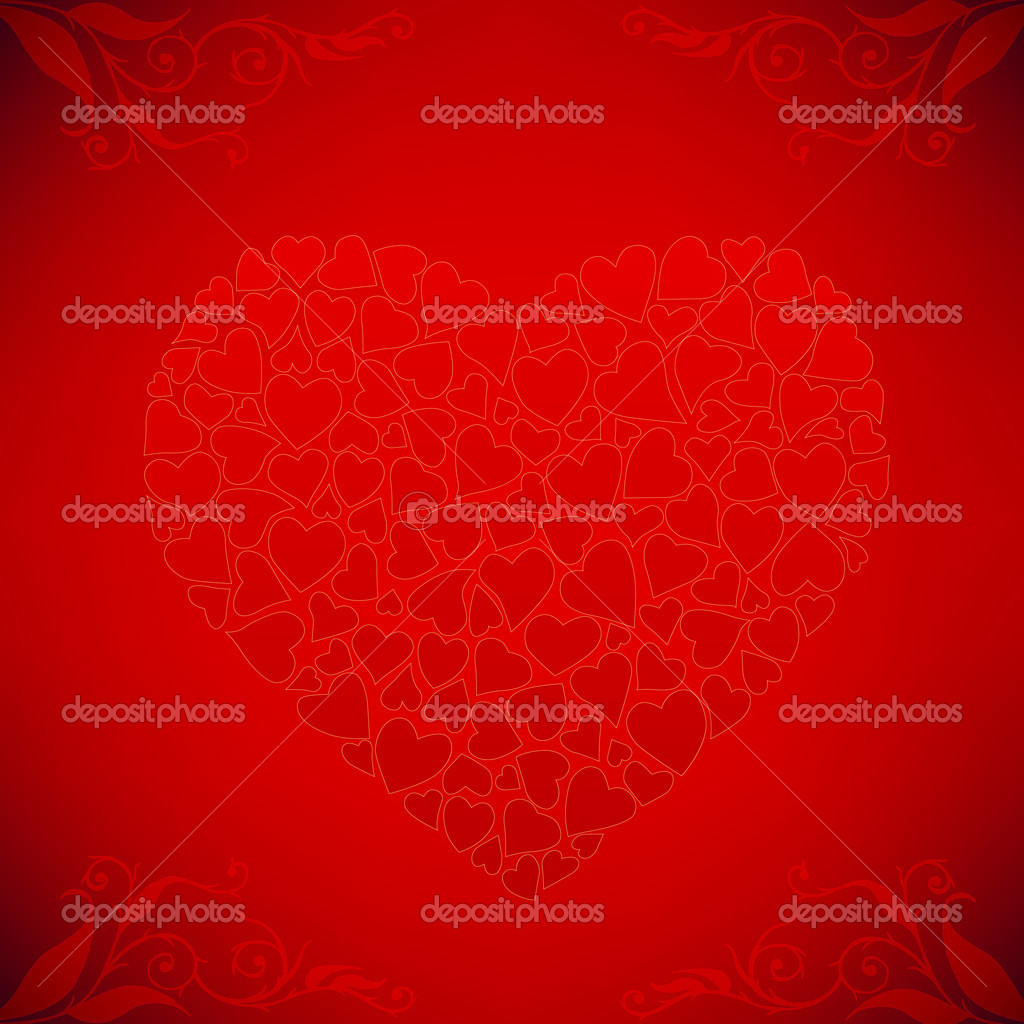 Valentine's day card with heart and floral elements — Stock Vector #8343809