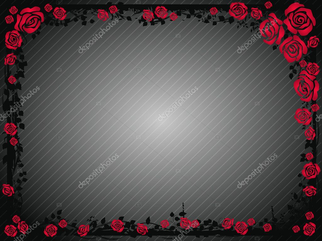 Gray background with frame of red roses — Stock Vector #8343819