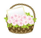 Cesta com rosas — Vetor de Stock