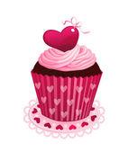 Valentine dag cupcake — Stockvector
