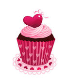 Valentine day cupcake — Stock Vector