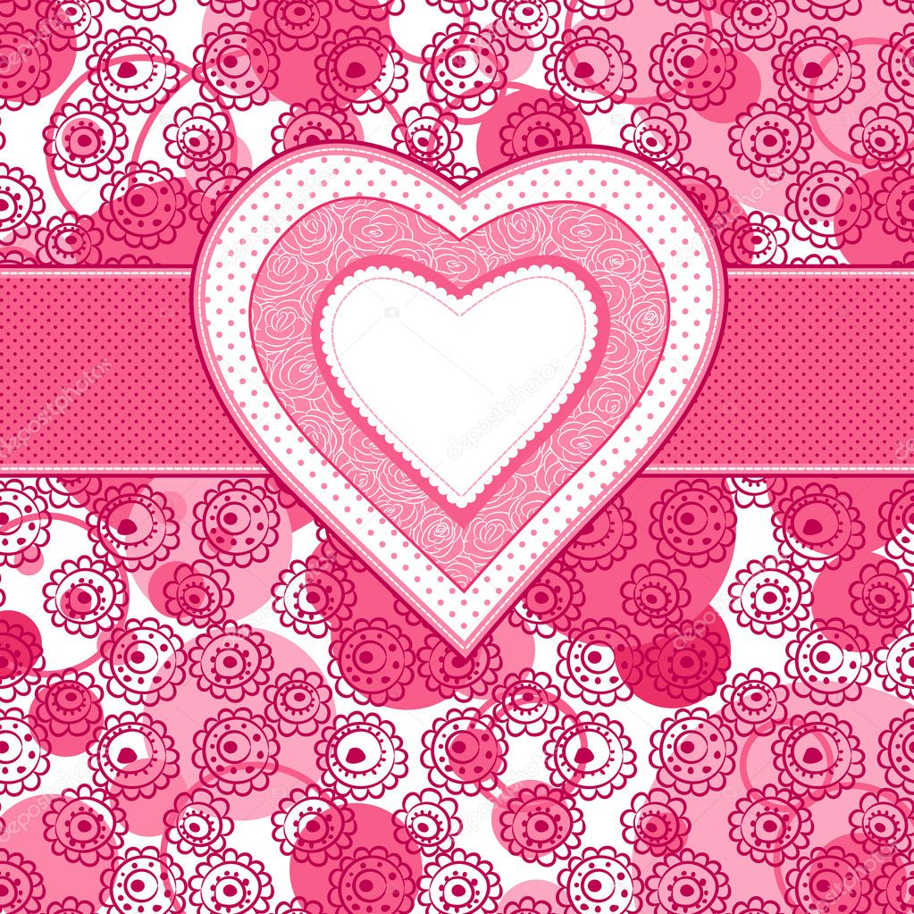 Valentine day card with heart and floral background — Stock Vector #8582710