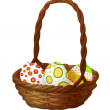 Stockvector : Basket with Easter eggs