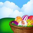 Basket with Easter eggs — Stock Vector #9682123
