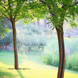 Closeup landscape of two trees in a park in sunshine — Foto de Stock