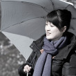 Beautiful asian girl holding umbrella against the sun — Stock Photo