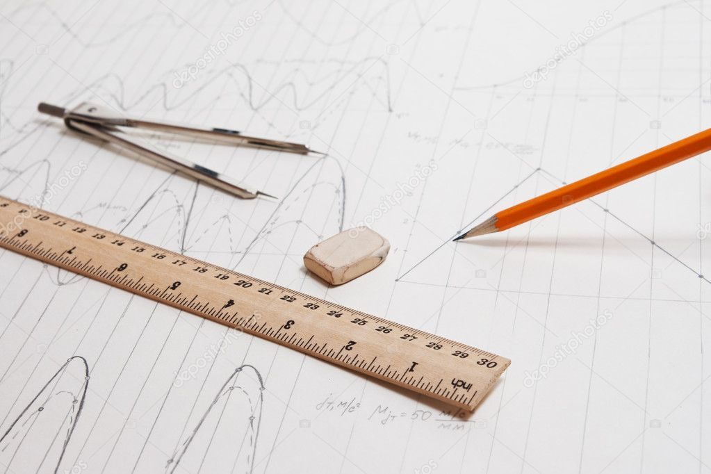 Drawing detail and drawing tools background — Stock Photo #8073583