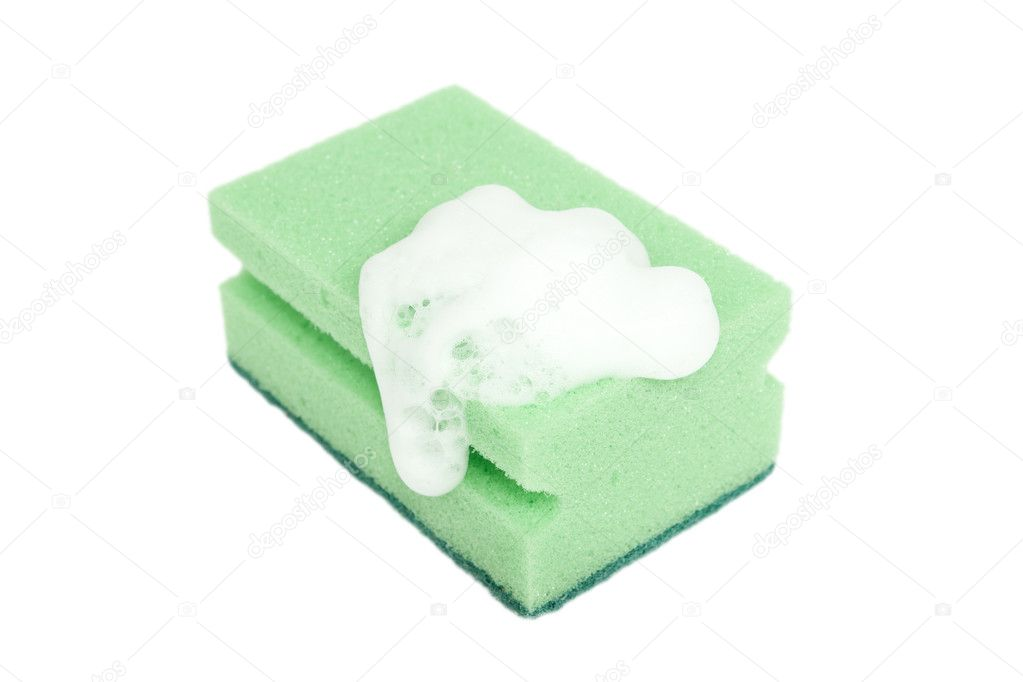 Green sponge with foam isolated on white background — Stock Photo #8159420