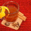 Glass of mulled wine on woven — Stock Photo #8186283