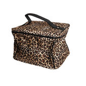 Leopard cosmetics bag isolated on white — Stock Photo